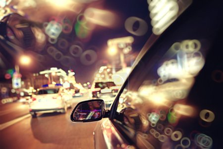 Photo for Background of blur night traffic jams, traffic speed - Royalty Free Image
