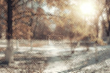 Foto de Desenfocar fondo bokeh, Parque otoño paisaje urbano, nieve primera del invierno - Imagen libre de derechos