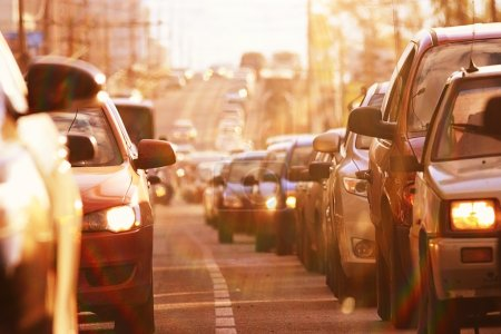 Photo for Traffic jam. traffic cars congestion on road. - Royalty Free Image