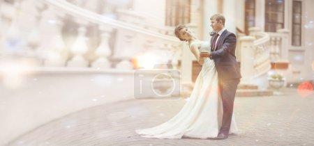 Wedding couple near palace
