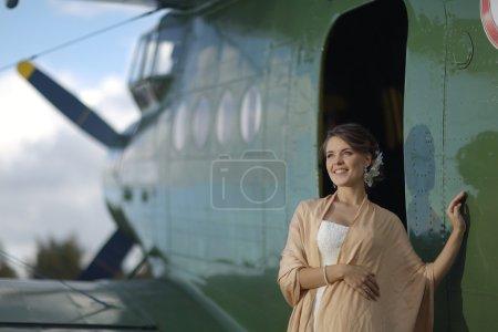 Woman at airplane