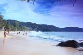 Surf sea wave on sand  beach