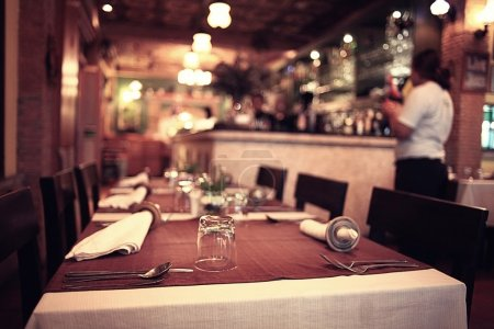 Photo for Served table ready for dinner  in luxury restaurant - Royalty Free Image