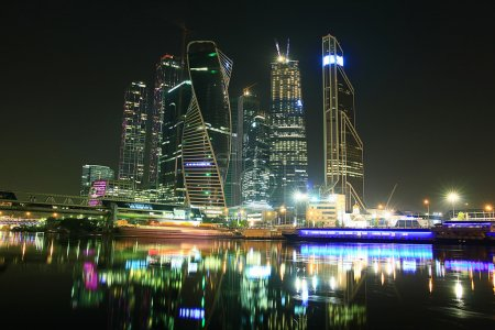 Photo for City skyline city lights moscow city landscape - Royalty Free Image
