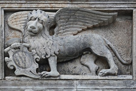Photo for Wall barrel griffon lion with wings - Royalty Free Image