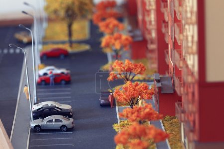 Photo for Layout of parking near apartment building, architecture concept - Royalty Free Image