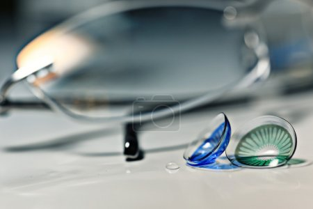 Glasses and colored contact lenses