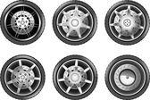 Vektorové auto pneumatiky ikony. Kola