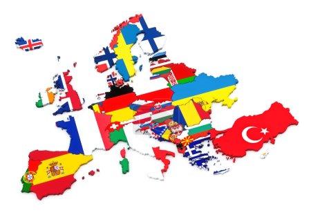 Photo pour Pays d'Europe. Pavillons européens. Fond blanc - image libre de droit