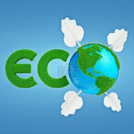 Photo pour Interprétation stylisée du logo Eco planète avec continents d'herbe caricatural et arbres en papier - image libre de droit