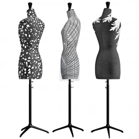 Photo for Female mannequins the front with patterned some of the elements. 3D graphic object on white background isolated - Royalty Free Image