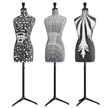 Matte black and white mannequins on adjustable feet
