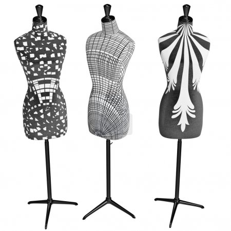 Patterned female mannequins on glossy metal stand