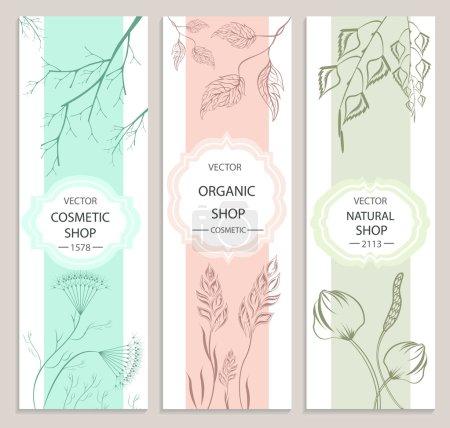 Illustration pour Collection de bannières décoratives florales et botaniques. Produits cosmétiques bio. Illustration vectorielle - image libre de droit