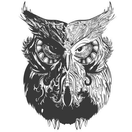 Illustration pour Chouette vectorielle en blanc noir décorée d'ornements vintage - image libre de droit