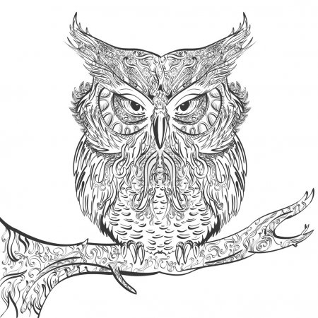 Illustration for Vector stylised hand drawn owl decorated with vintage ornament black on a white background - Royalty Free Image