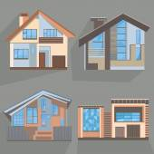 Illustrations of building models of houses Architectural building with large blue windows on a gray background Vector icons for cottages real estate design and business Vector illustration