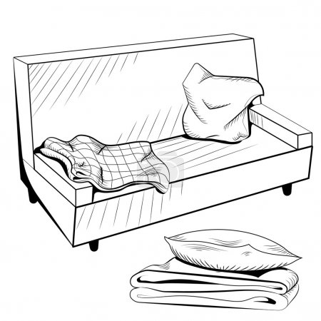 Illustration pour Canapé de Vector noir et blanc avec une couverture chaude et oreillers. Illustration vectorielle - image libre de droit