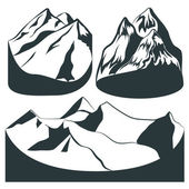Monochrome set mountains of different rocks for background or principles of design Made in the style graphics Vector Illustration