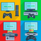 Set video game consoles with joysticks and the screen on colorfull background is ready for the game Vector Illustration