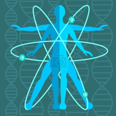 Illustration for Perfect man inside an atom with atomic structure, genetics in the background consisting of strands of DNA. Medicine, science. Vector illustration - Royalty Free Image