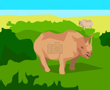 Rhino on background bushes, animals and nature