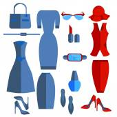 Set isolated womens clothing and accessories dress skirt jacket