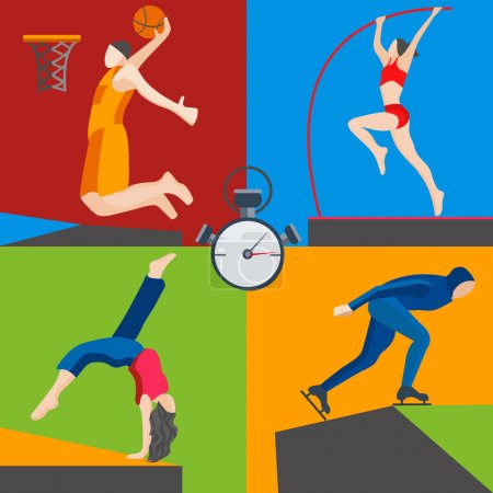 Athletes skater, basketball, pole vaulting, dancer