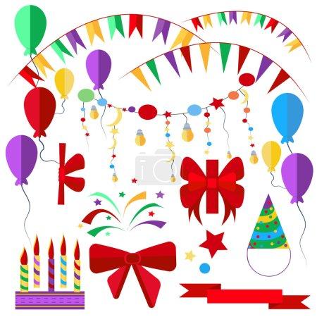 Set of holiday items, candles, ribbons, balls