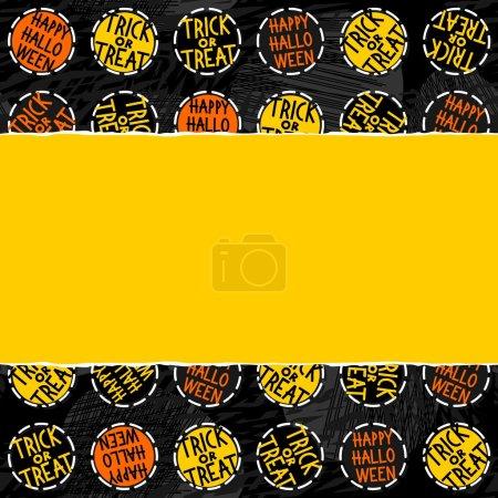 Happy halloween trick or treat white black yellow orange round badges autumn holiday seamless pattern on dark background on horizontal torn yellow paper seasonal horizontal seamless border