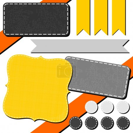 Yellow orange gray arrow retro flag dot rectangular sewed shapes speech patterned elements for infographic with ribbon isolated on white background