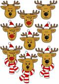 Reindeers faces, in Santa Claus hats and in hats and scarfs Christmas winter holidays animal set isolated on white background