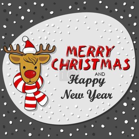 rote Nase Rentier in Weihnachtsmann Mütze und buntem Schal Winterurlaub Karte auf dunklem Hintergrund mit Weihnachtswünschen in englischer Sprache