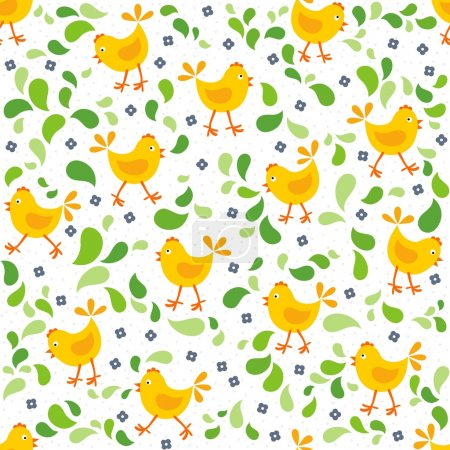 little yellow chickens with green leaves and blue flowers messy Easter seamless pattern
