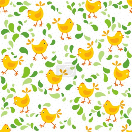 little yellow chickens with green leaves messy Easter spring holidays seamless pattern