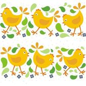 little yellow chickens with green leaves and blue flowers Easter horizontal seamless pattern