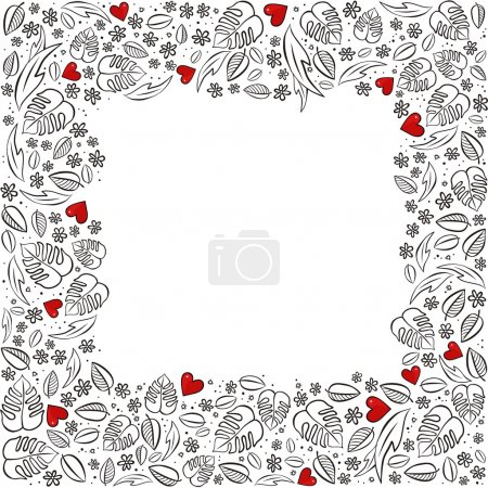 Illustration pour Secret jardin cadre carré avec coeurs rouges monochrome printemps été florale saisonnière malpropre carte sur fond blanc - image libre de droit