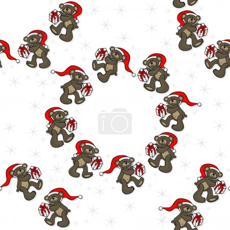 brown animal toy teddy bears with Santa Claus hat and Christmas gift seasonal decorative wreath Christmas seamless pattern on a white