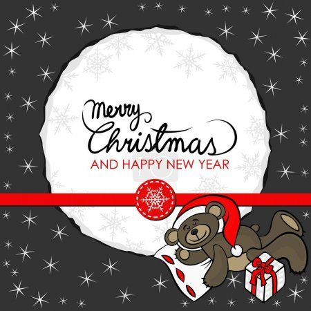 brown toy animal sleeping teddy bear with Santa Claus hat and a gift decorative seasonal Christmas card on dark background with round torn paper with Christmas and New Year wishes in English