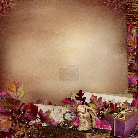 Photo pour Fond vintage avec feuilles, fleurs, anges et lettres - image libre de droit