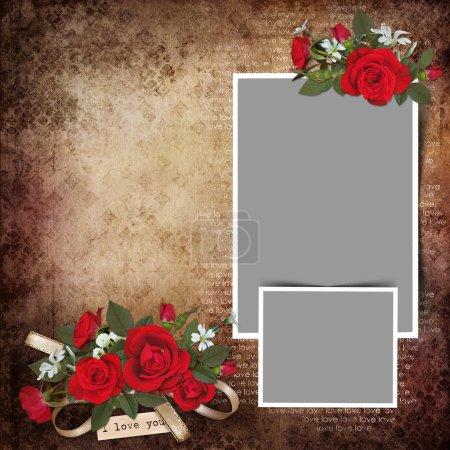 Photo pour Cadres avec des fleurs roses sur fond d'amour vintage - image libre de droit