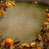 Autumn vintage background with leaves, pumpkin