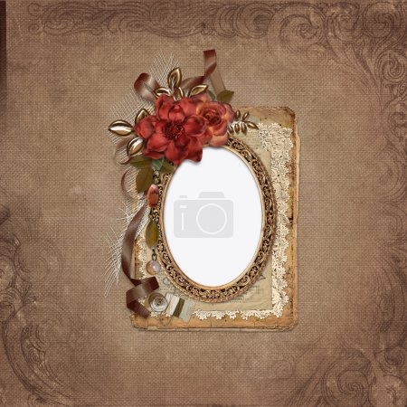 Frame with roses, retro decorations on vintage background
