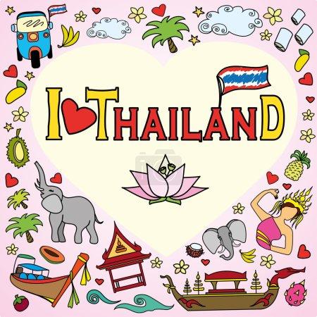 Illustration pour J'adore la Thaïlande. Définir des icônes vectorielles de couleur thaïlandaise et des symboles, illustration vectorielle - image libre de droit
