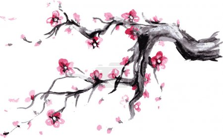 Illustration for Watercolor Spring blossoms background - japanese symbol, vector - Royalty Free Image