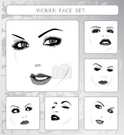 Illustration for Set beautiful women faces collection, vector illustration - Royalty Free Image