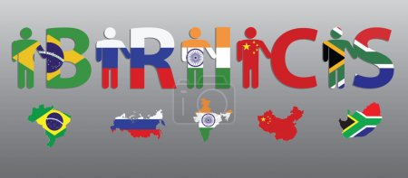 BRICS. Peoples and letters in the colors of the flag and map
