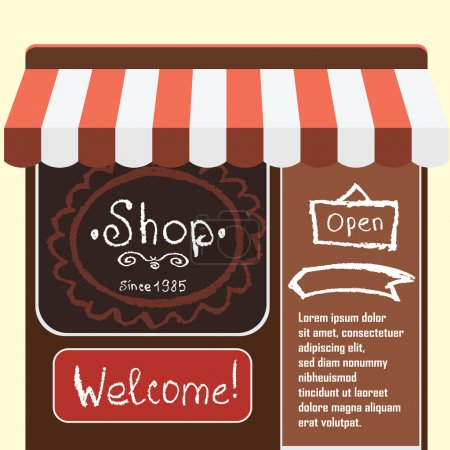 Vector flat modern illustration  small shop and store ,Different