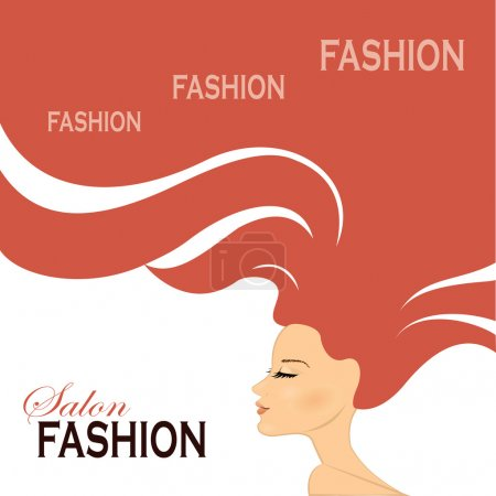 Illustration pour Femme de mode aux cheveux longs. Illustration vectorielle. Design élégant pour salon de beauté Flyer ou bannière . - image libre de droit