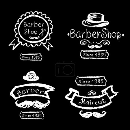 Set of vintage barber shop logo, labels, prints,
